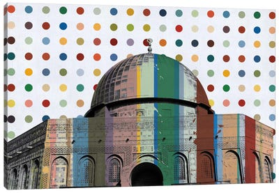 Jerusalem, Israel Colorful Polka Dot Skyline Canvas Art Print