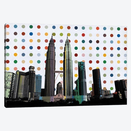 Kuala Lumpur, Malaysia Colorful Polka Dot Skyline Canvas Print #SKY74} by Unknown Artist Art Print