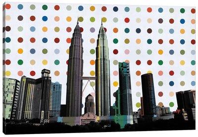 Kuala Lumpur, Malaysia Colorful Polka Dot Skyline Canvas Art Print