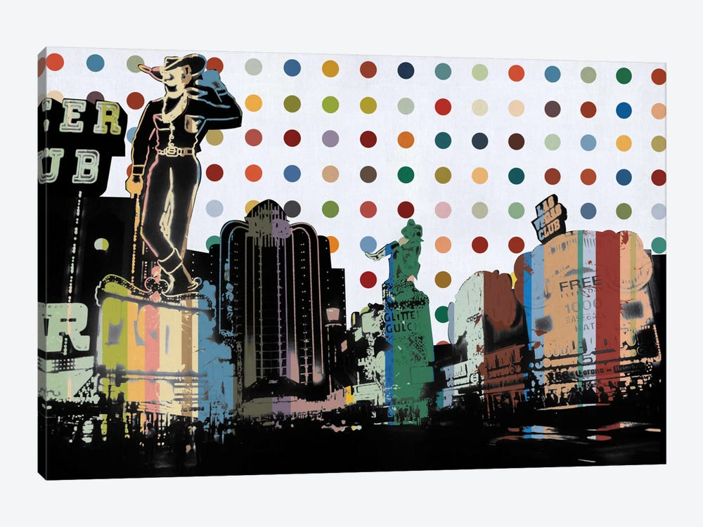 Las Vegas, Nevada Colorful Polka Dot Skyline by iCanvas 1-piece Canvas Artwork