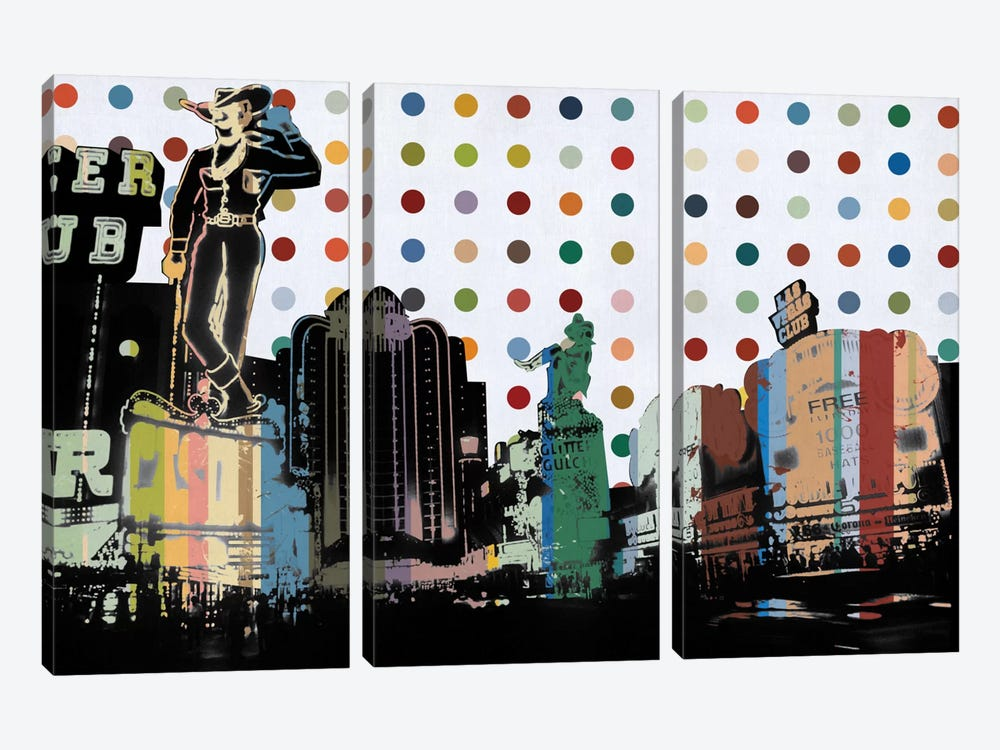 Las Vegas, Nevada Colorful Polka Dot Skyline by iCanvas 3-piece Canvas Artwork