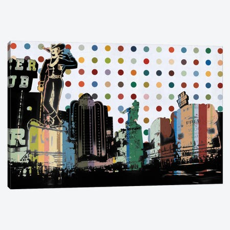 Las Vegas, Nevada Colorful Polka Dot Skyline Canvas Print #SKY75} by Unknown Artist Art Print