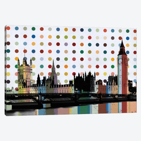 London, England Colorful Polka Dot Skyline Canvas Print #SKY76} by Unknown Artist Canvas Print