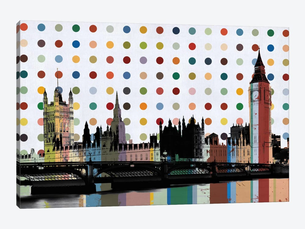 London, England Colorful Polka Dot Skyline by Unknown Artist 1-piece Canvas Art Print