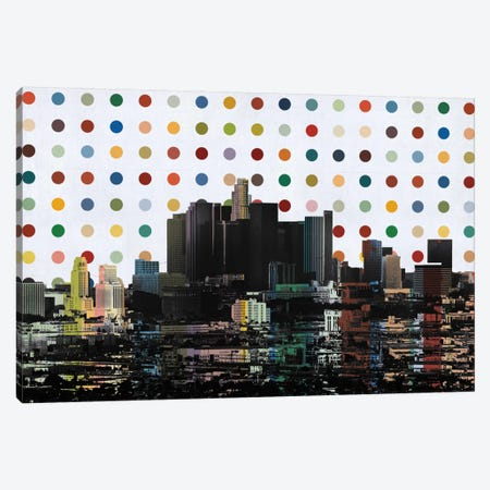 Los Angeles, California Colorful Polka Dot Skyline Canvas Print #SKY77} by Unknown Artist Canvas Art Print