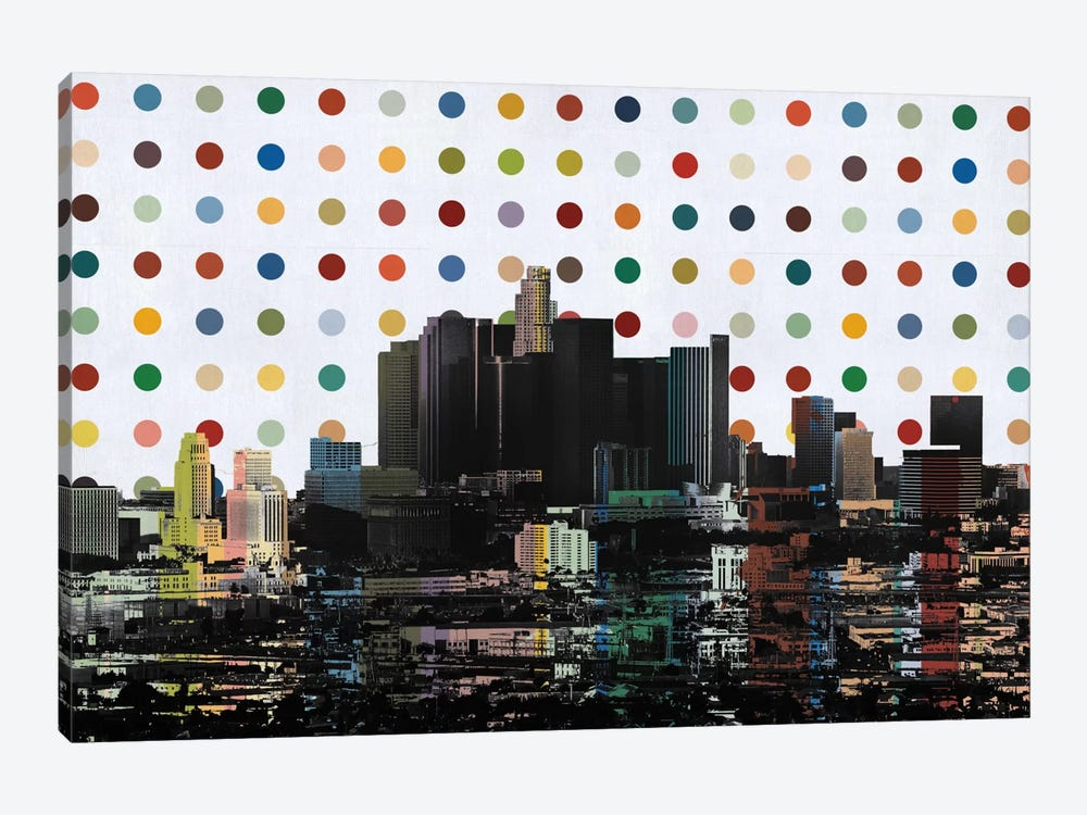 Los Angeles, California Colorful Polka Dot Skyline by Unknown Artist 1-piece Canvas Wall Art