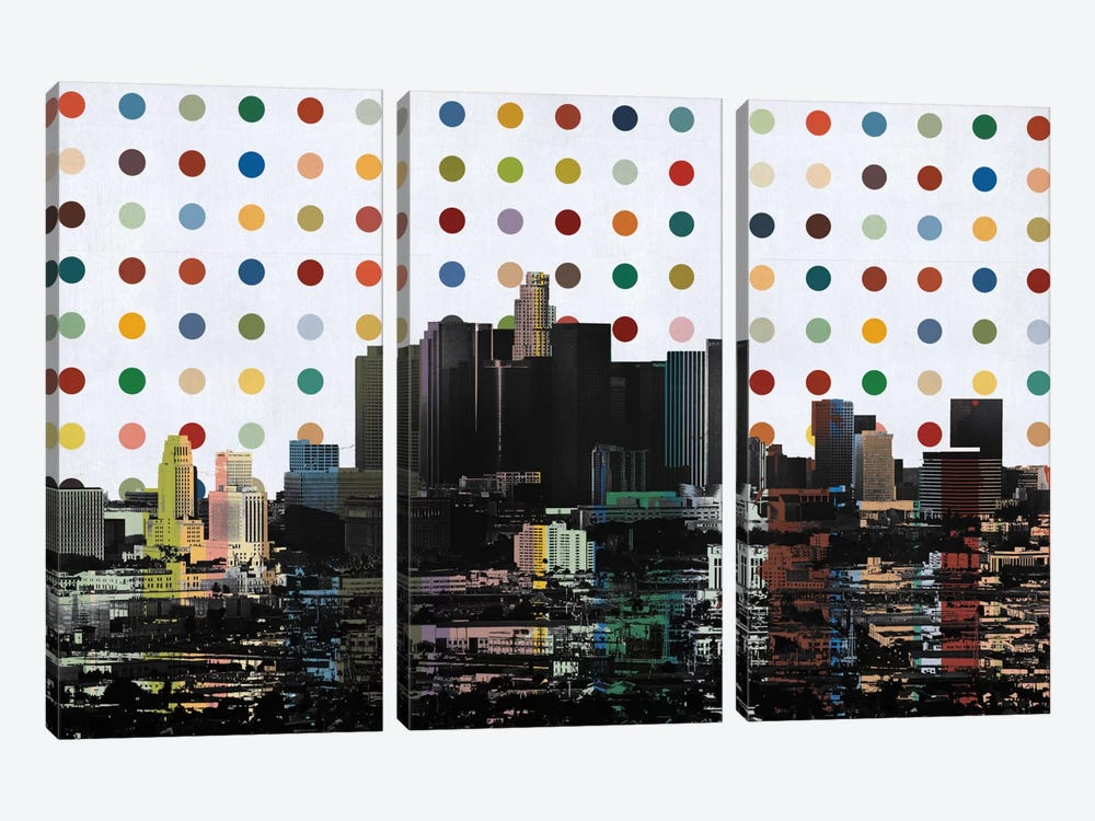 Los Angeles, California Colorful Polka Dot Skyline by iCanvas 3-piece Canvas Art