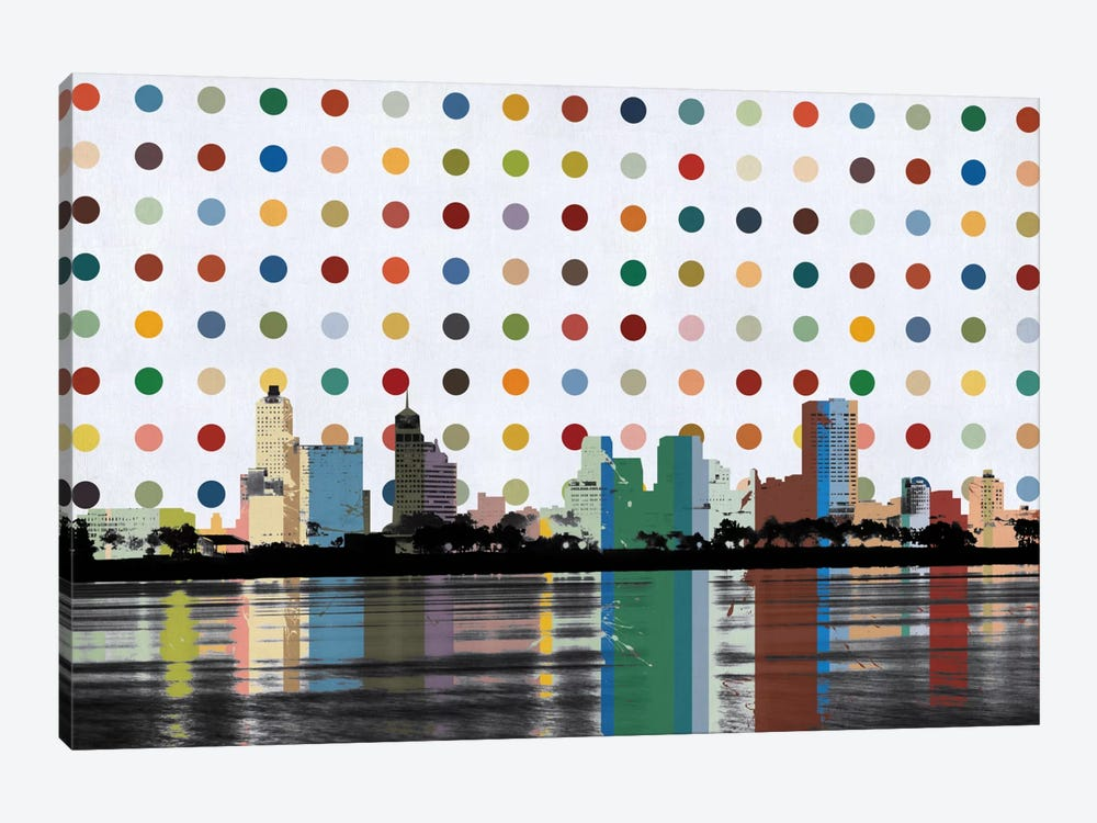 Memphis, Tennessee Colorful Polka Dot Skyline by Unknown Artist 1-piece Canvas Art Print