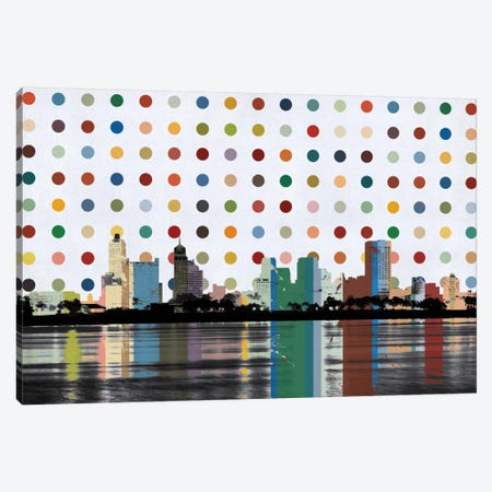 Memphis, Tennessee Colorful Polka Dot Skyline Canvas Print #SKY78} by Unknown Artist Canvas Artwork