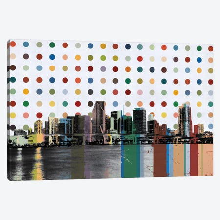 Miami, Florida Colorful Polka Dot Skyline Canvas Print #SKY79} by Unknown Artist Canvas Artwork
