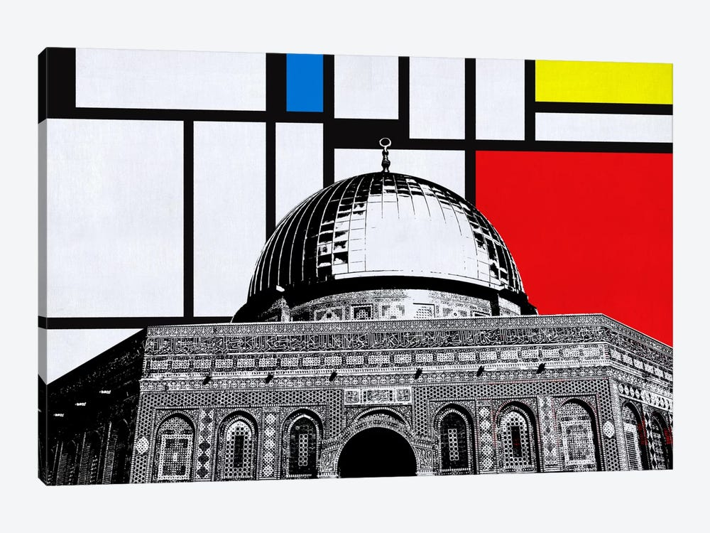 Jerusalem, Israel Skyline with Primary Colors Background by iCanvas 1-piece Canvas Wall Art