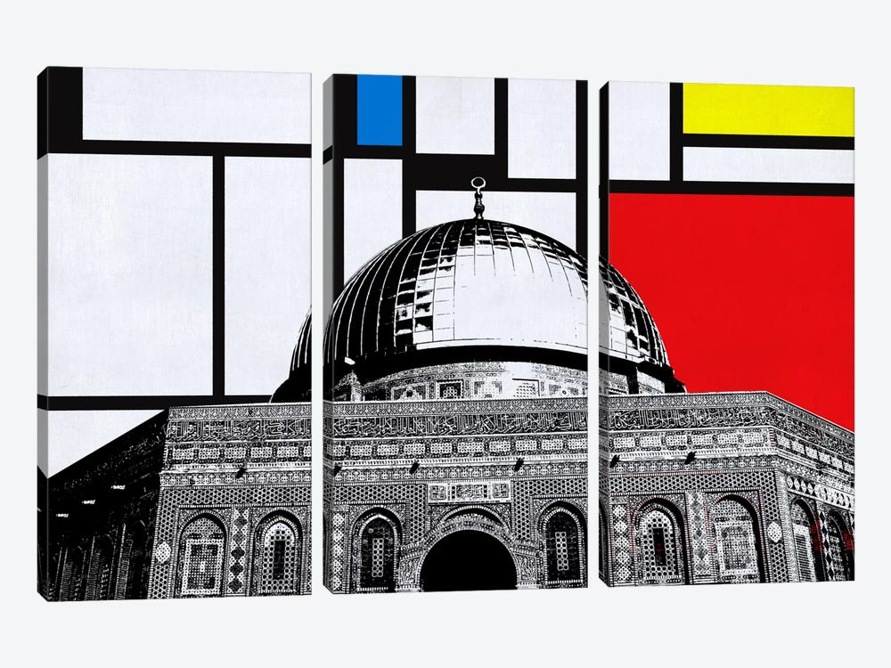 Jerusalem, Israel Skyline with Primary Colors Background by iCanvas 3-piece Canvas Art
