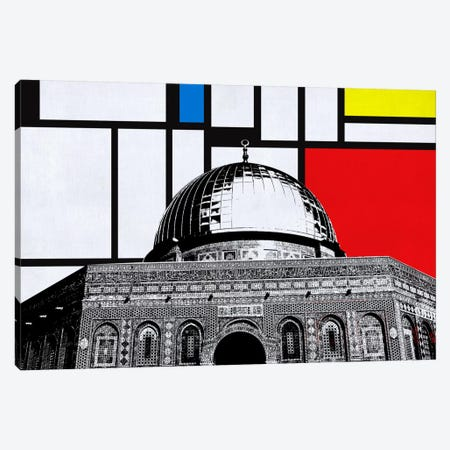 Jerusalem, Israel Skyline with Primary Colors Background Canvas Print #SKY7} by Unknown Artist Canvas Art