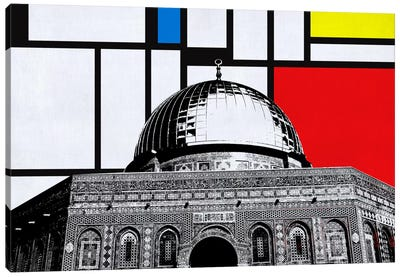 Jerusalem, Israel Skyline with Primary Colors Background Canvas Art Print
