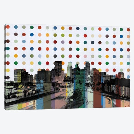 Minneapolis, Minnesota Colorful Polka Dot Skyline Canvas Print #SKY80} by iCanvas Canvas Art Print
