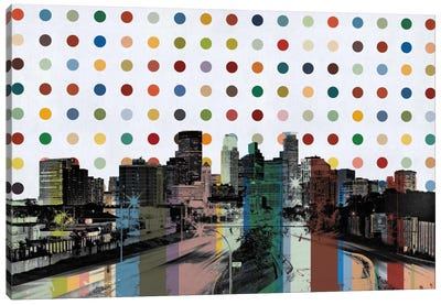 Minneapolis, Minnesota Colorful Polka Dot Skyline Canvas Print #SKY80