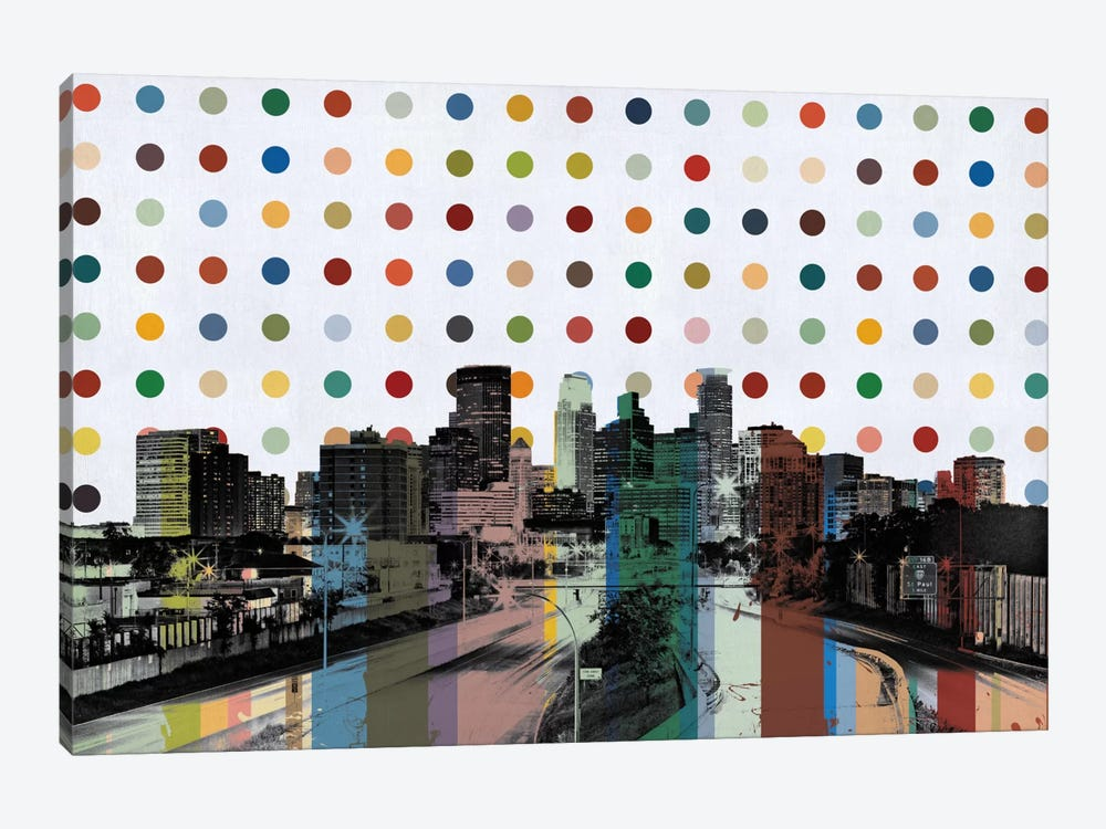 Minneapolis, Minnesota Colorful Polka Dot Skyline 1-piece Canvas Wall Art