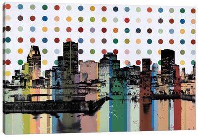 Montreal, Canada Colorful Polka Dot Skyline Canvas Art Print