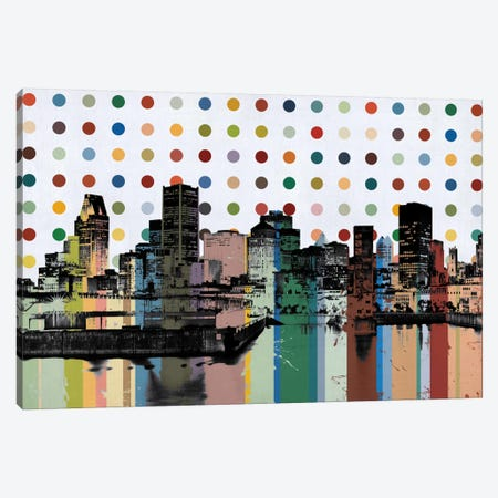 Montreal, Canada Colorful Polka Dot Skyline Canvas Print #SKY81} by Unknown Artist Canvas Print