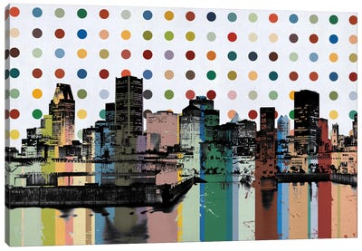 Montreal, Canada Colorful Polka Dot Skyline Canvas Art Print