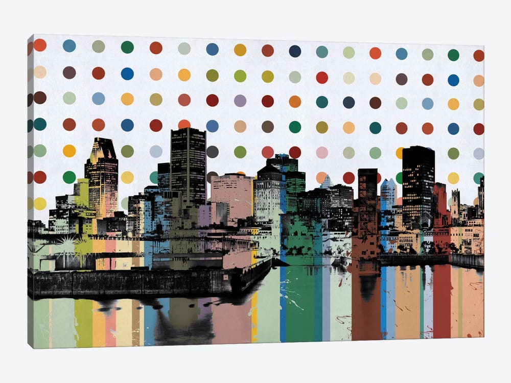 Montreal, Canada Colorful Polka Dot Skyline by Unknown Artist 1-piece Canvas Art Print