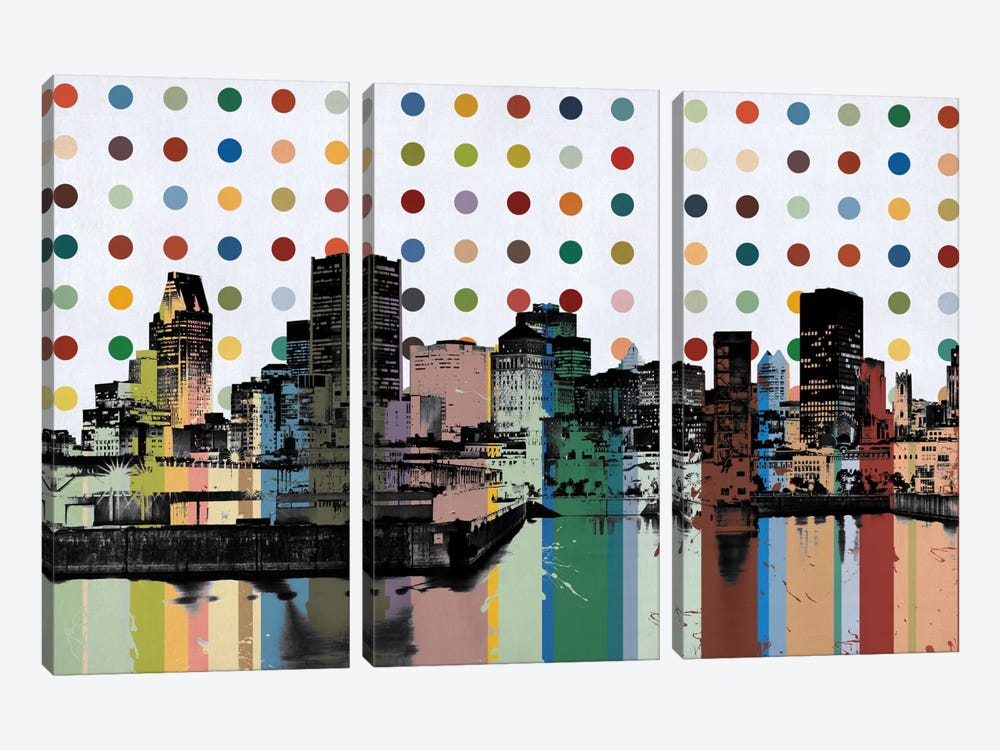 Montreal, Canada Colorful Polka Dot Skyline by iCanvas 3-piece Canvas Art Print