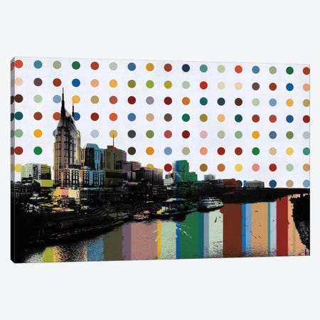 Nashville, Tennessee Colorful Polka Dot Skyline Canvas Print #SKY82} by Unknown Artist Canvas Art Print