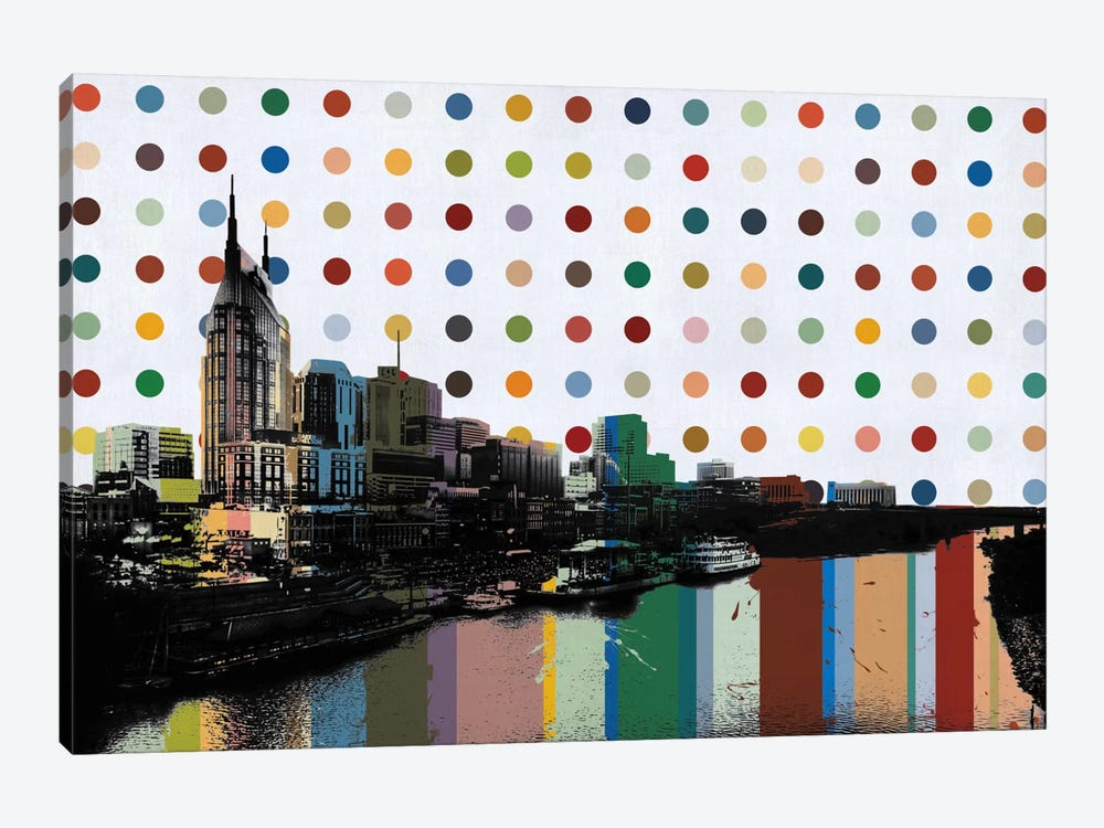 Nashville, Tennessee Colorful Polka Dot Skyline by iCanvas 1-piece Canvas Artwork