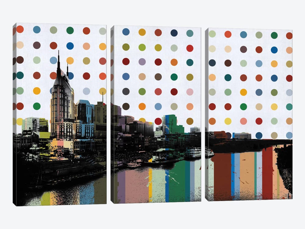 Nashville, Tennessee Colorful Polka Dot Skyline by iCanvas 3-piece Canvas Artwork