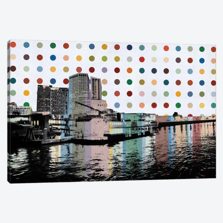 New Orleans, Louisiana Colorful Polka Dot Skyline Canvas Print #SKY83} by Unknown Artist Canvas Art Print