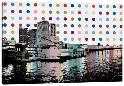 New Orleans, Louisiana Colorful Polka Dot Skyline Canvas Art Print