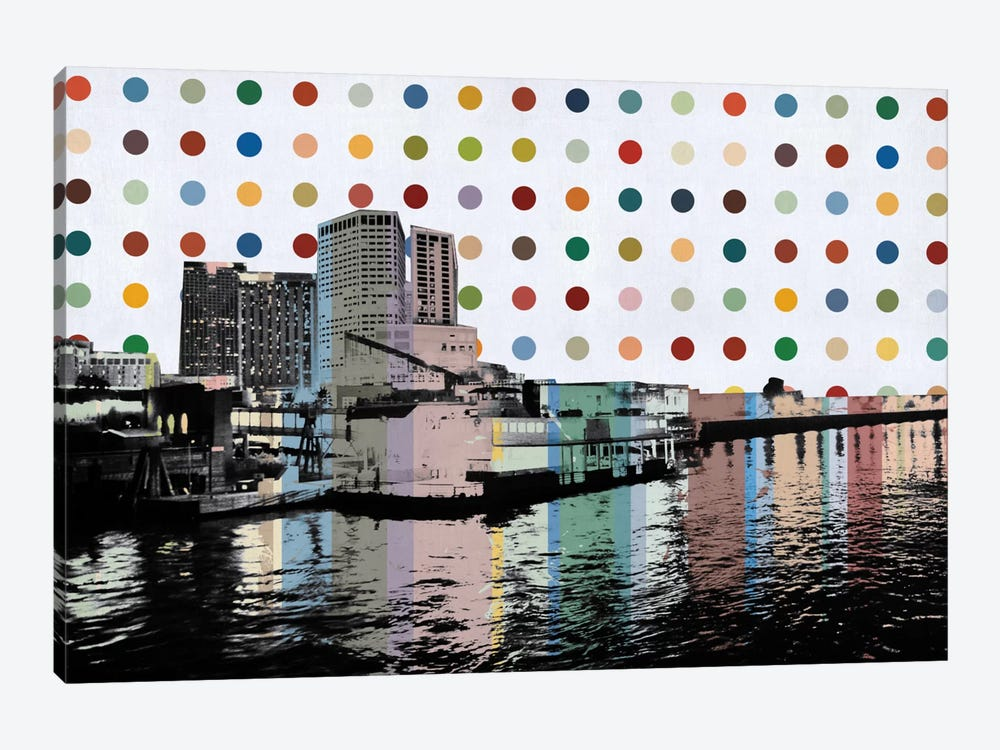 New Orleans, Louisiana Colorful Polka Dot Skyline 1-piece Canvas Art Print