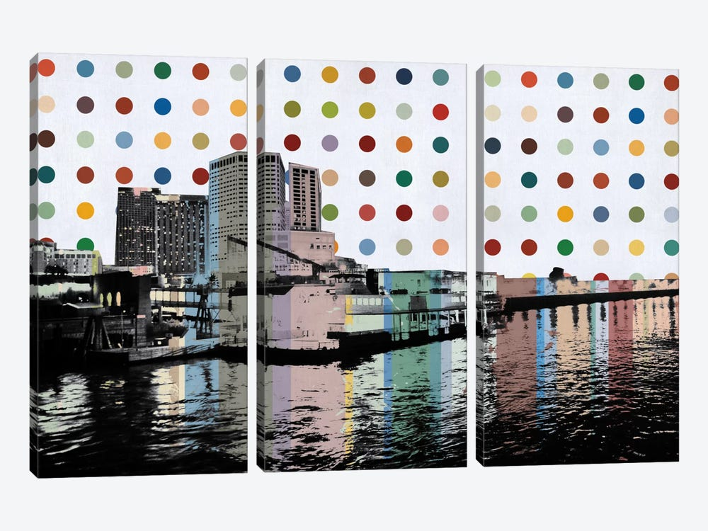 New Orleans, Louisiana Colorful Polka Dot Skyline 3-piece Art Print