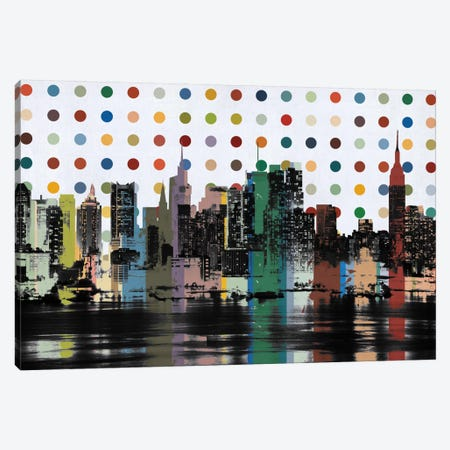 New York Colorful Polka Dot Skyline Canvas Print #SKY84} by Unknown Artist Canvas Wall Art