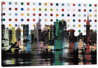 New York Colorful Polka Dot Skyline Canvas Print #SKY84