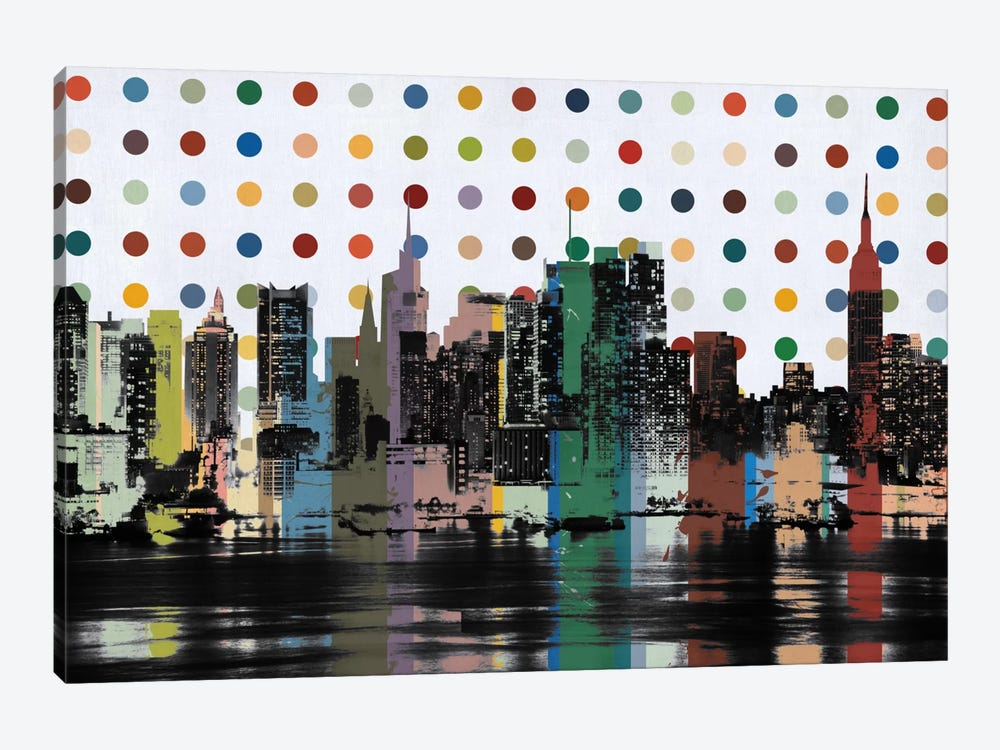 New York Colorful Polka Dot Skyline by Unknown Artist 1-piece Canvas Wall Art