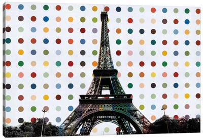 Paris, France Colorful Polka Dot Skyline Canvas Print #SKY85