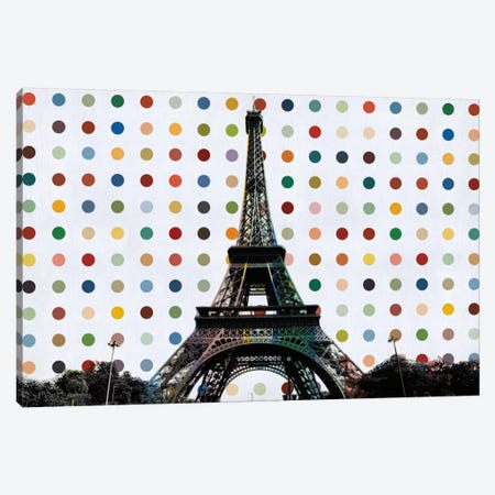 Paris, France Colorful Polka Dot Skyline Canvas Print #SKY85} by Unknown Artist Canvas Wall Art