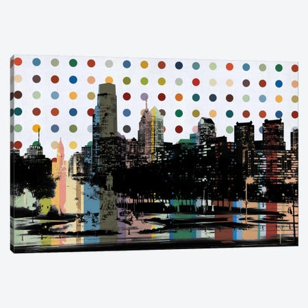 Philadelphia, Pennsylvania Colorful Polka Dot Skyline Canvas Print #SKY86} by iCanvas Canvas Wall Art