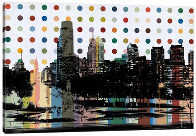 Philadelphia, Pennsylvania Colorful Polka Dot Skyline Canvas Art Print