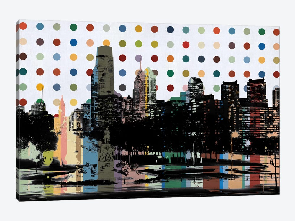 Philadelphia, Pennsylvania Colorful Polka Dot Skyline by Unknown Artist 1-piece Canvas Wall Art