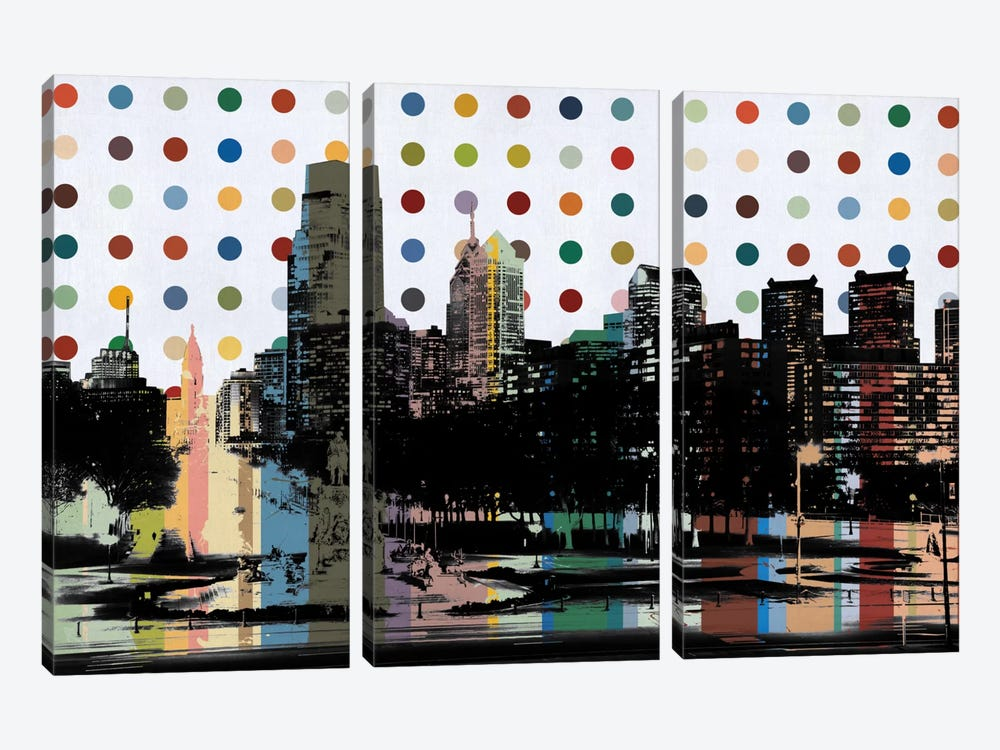Philadelphia, Pennsylvania Colorful Polka Dot Skyline by Unknown Artist 3-piece Canvas Wall Art