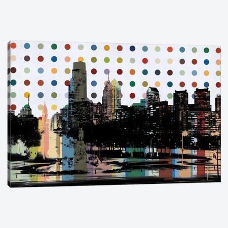 Philadelphia, Pennsylvania Colorful Polka Dot Skyline Canvas Print #SKY86} by Unknown Artist Canvas Wall Art