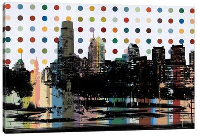 Philadelphia, Pennsylvania Colorful Polka Dot Skyline Canvas Art Print