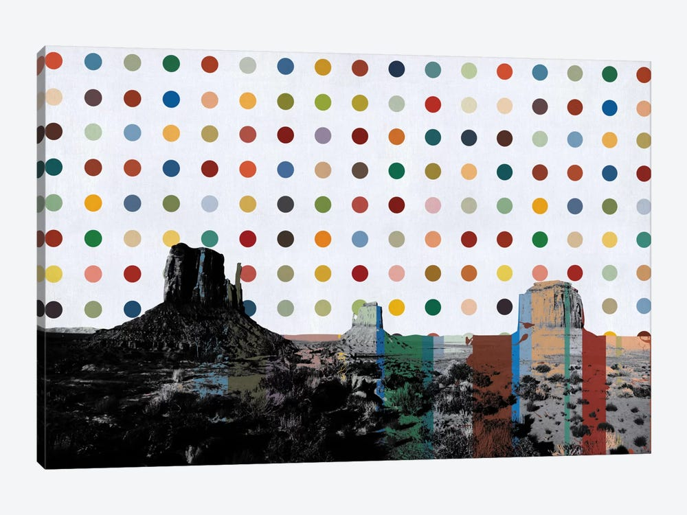 Phoenix, Arizona Colorful Polka Dot Skyline by iCanvas 1-piece Canvas Print