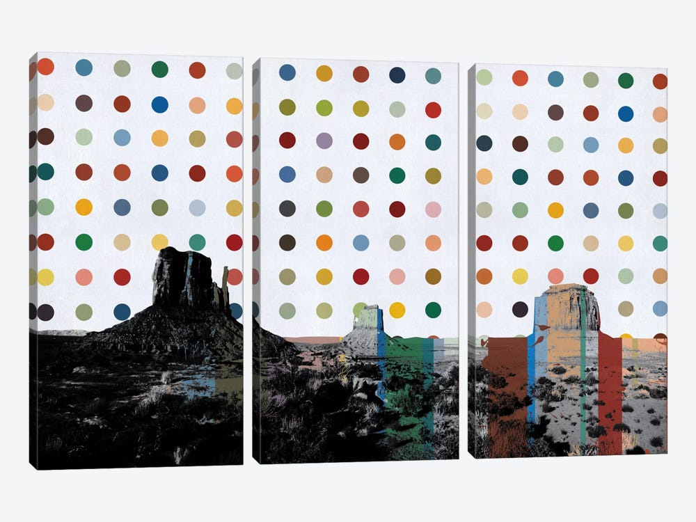 Phoenix, Arizona Colorful Polka Dot Skyline by iCanvas 3-piece Art Print