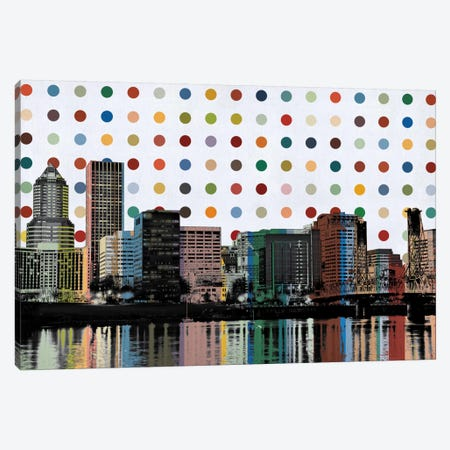 Portland, Oregon Colorful Polka Dot Skyline Canvas Print #SKY88} by Unknown Artist Canvas Art Print