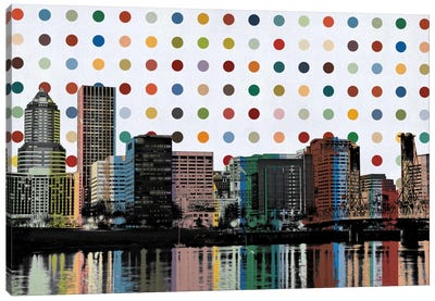 Portland, Oregon Colorful Polka Dot Skyline Canvas Art Print