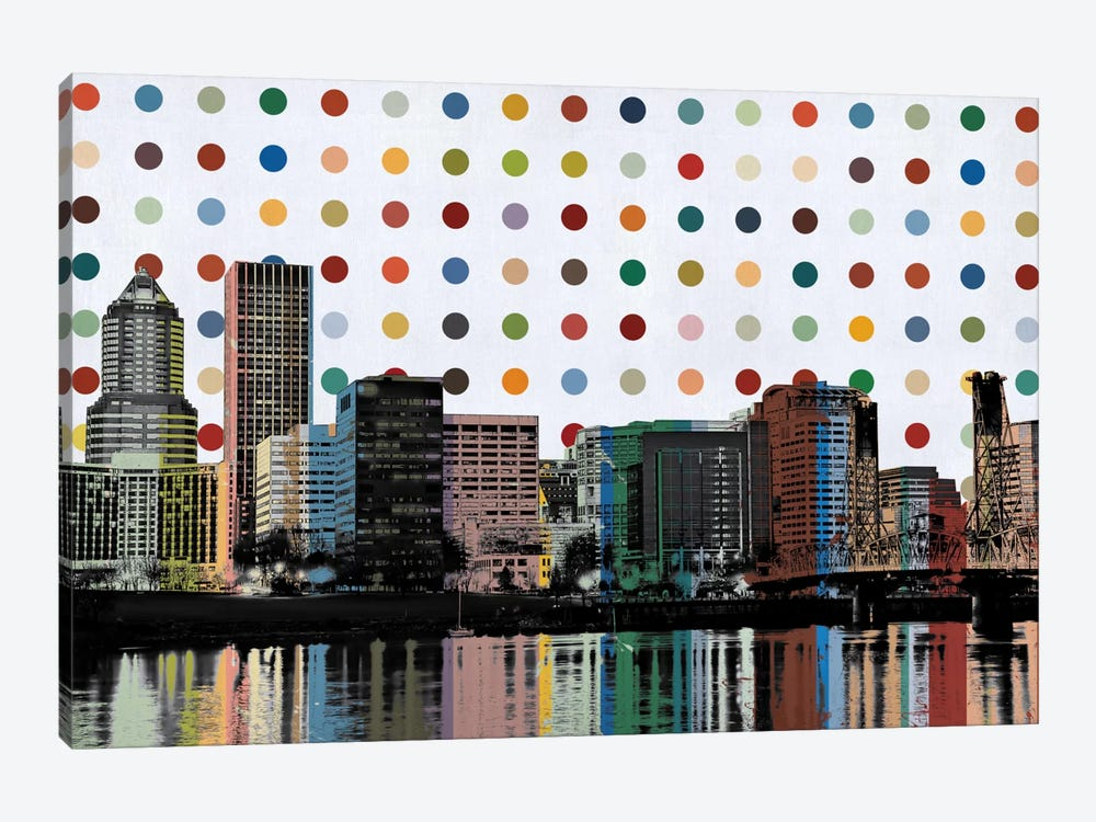 Portland, Oregon Colorful Polka Dot Skyline 1-piece Canvas Artwork