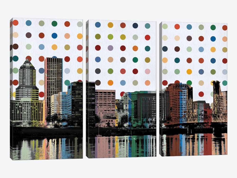 Portland, Oregon Colorful Polka Dot Skyline by iCanvas 3-piece Canvas Art